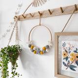 Felt Ball And Star Hoop In Mustard, Grey and White.  By Stone & Co - stoneandcoshop
