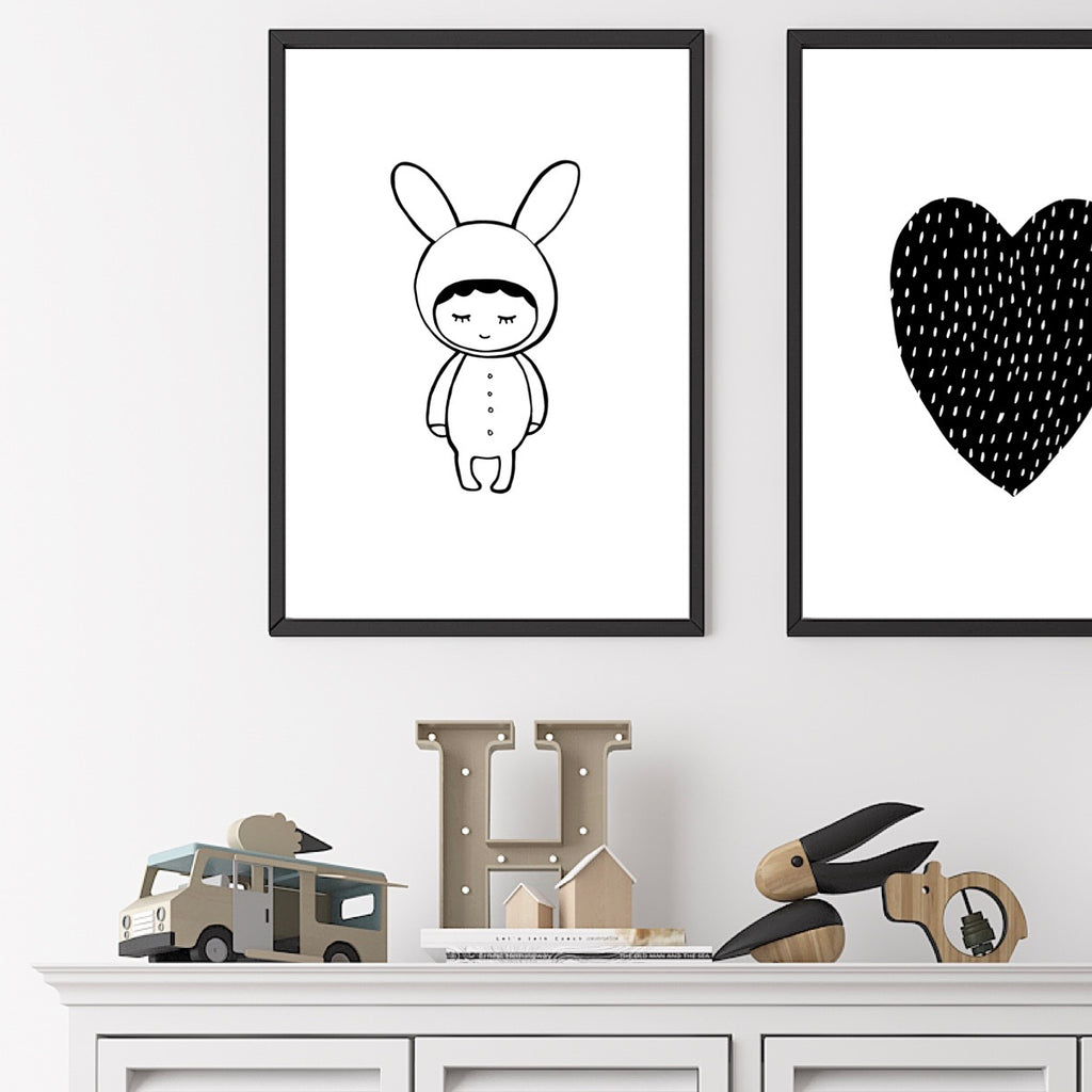 Shy Bunny In Black And White - A4 Print By Mini Learners - stoneandcoshop