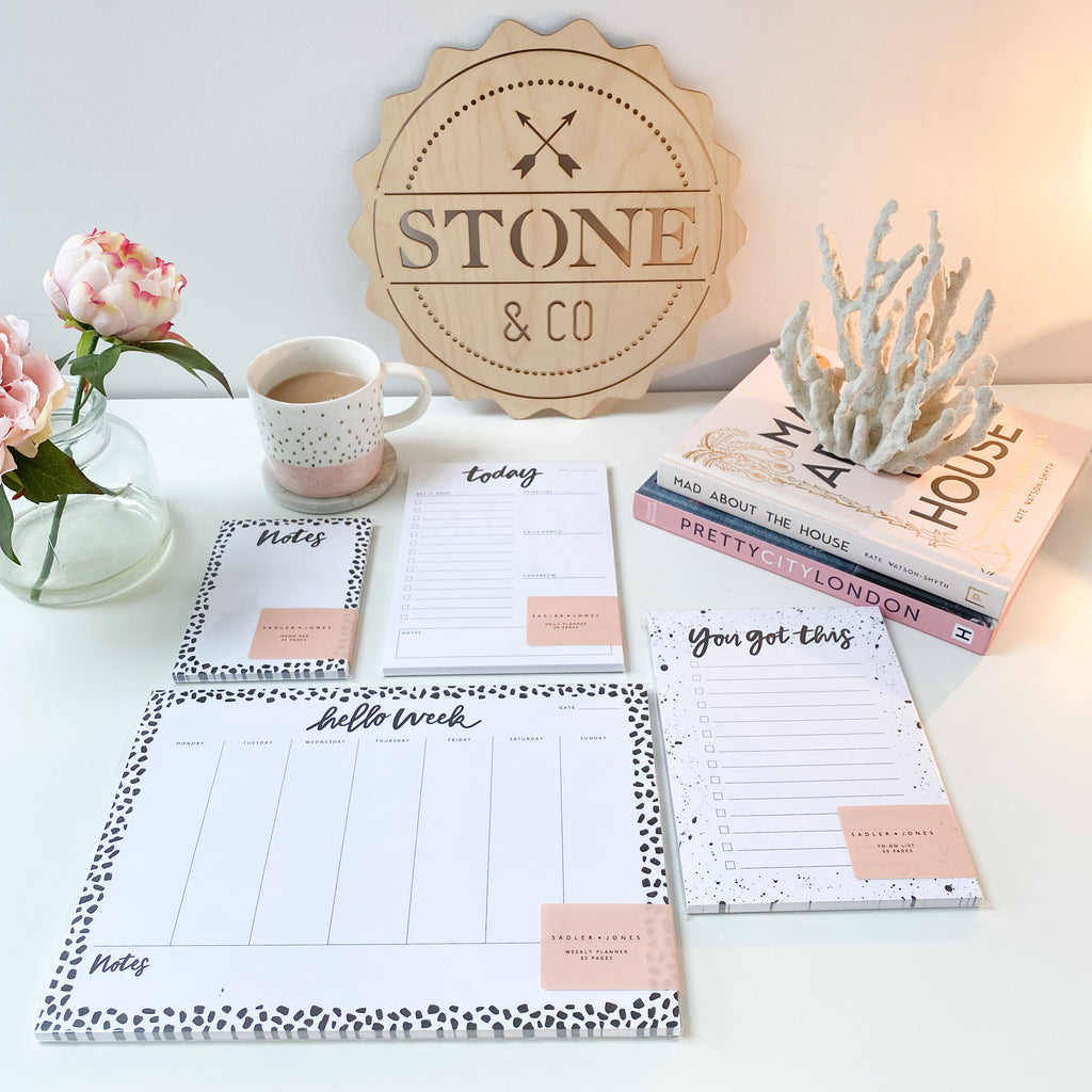 A4 Mono Hello Week - Weekly Desk Planner By Sadler Jones - stoneandcoshop