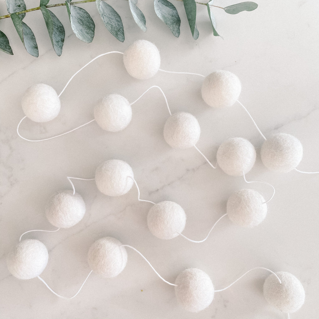 Extra Large Felt Ball Pom Pom Garland - White
