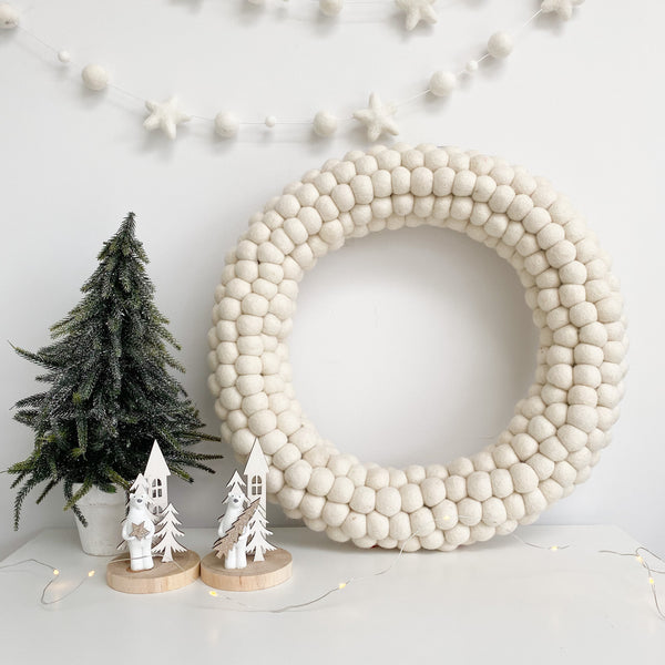 All White Felt Ball Pom Pom Wreath By Stone and Co -PLUS FREE MATCHING GARLAND
