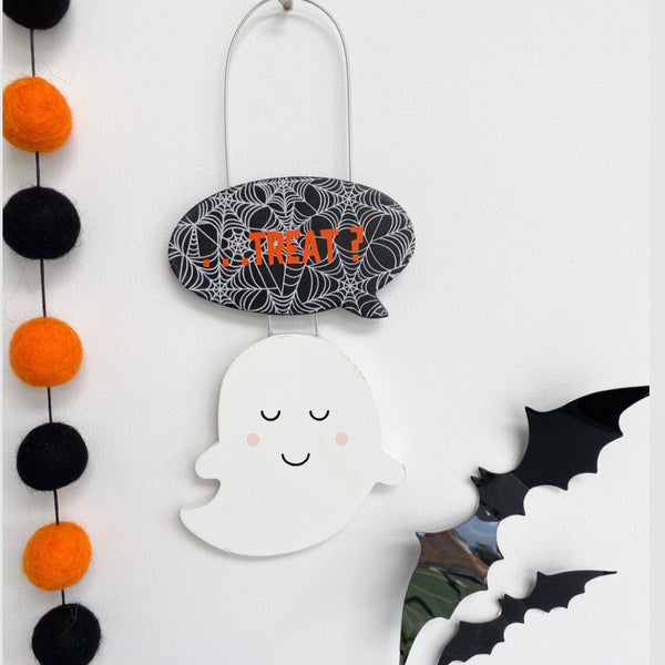 Happy Ghost Trick or Treat Halloween Hanging Decoration