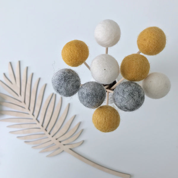 Felt Ball Flowers in Mustard, Natural Grey and Natural White - stoneandco