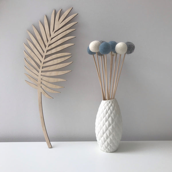 Felt Ball Flowers in Dusty Blue, Natural Grey and Natural White - stoneandcoshop