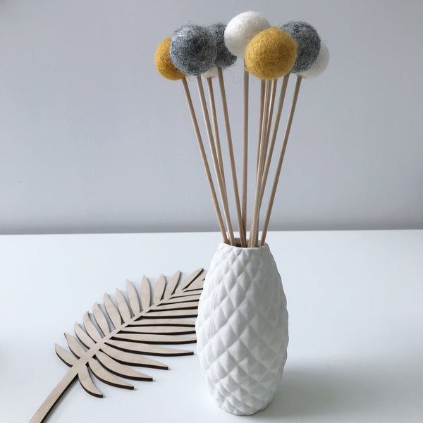Felt Ball Flowers in Mustard, Natural Grey and Natural White - stoneandcoshop