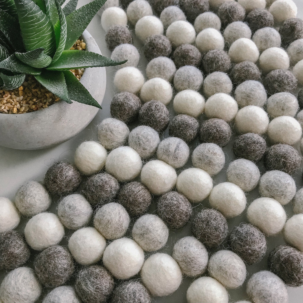 Stone and Co Felt Ball Pom Garland Light Naturals Browns - stoneandcoshop