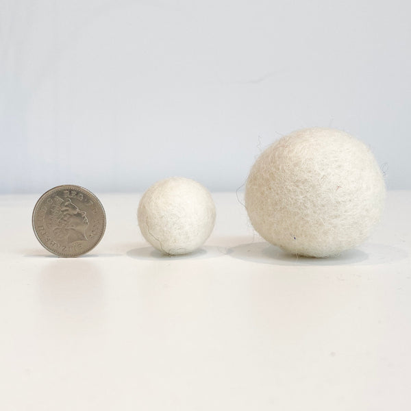 Jumbo Felt Ball Garland - All White - stoneandcoshop