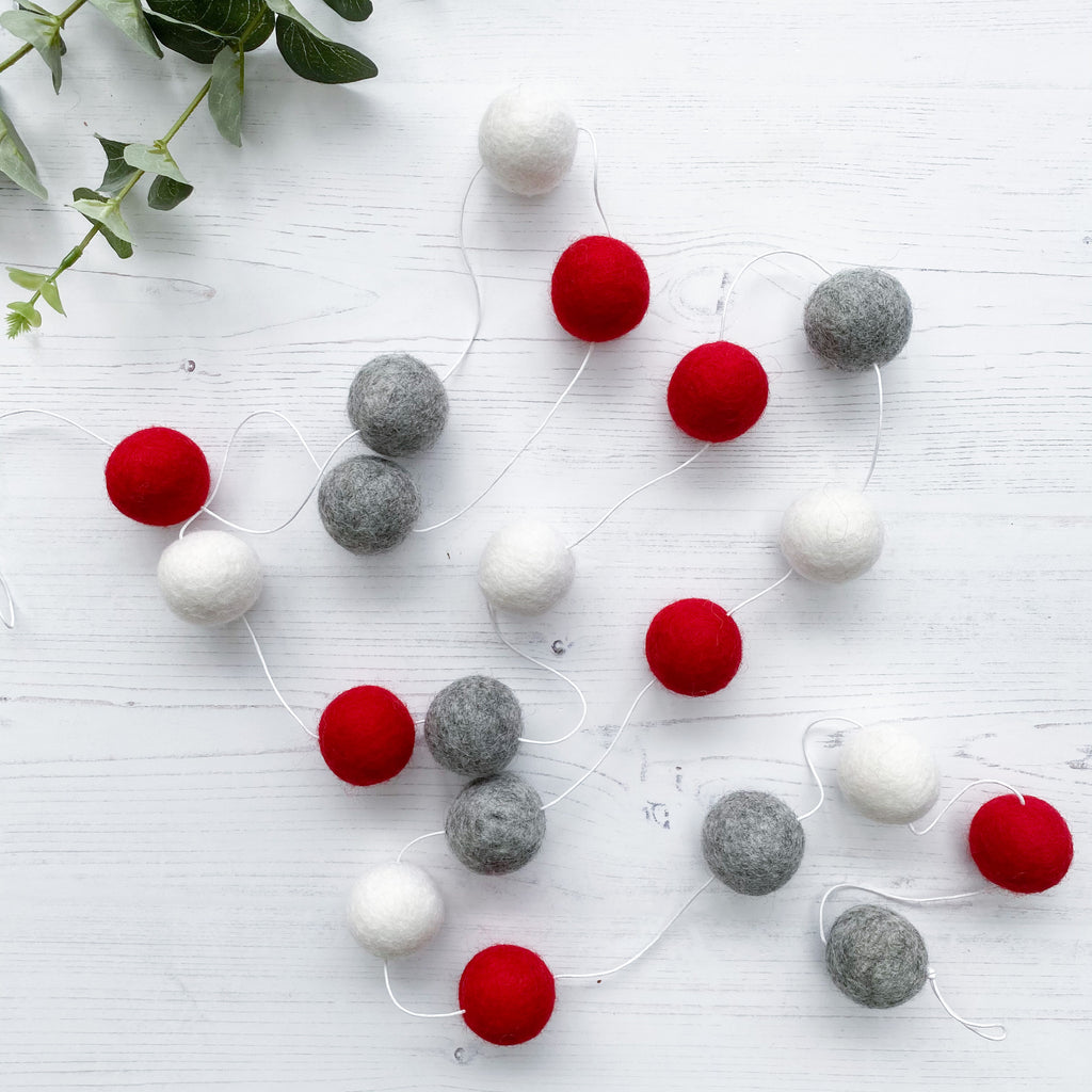 Extra Large Felt Ball Pom Pom Garland - Grey, Red and White