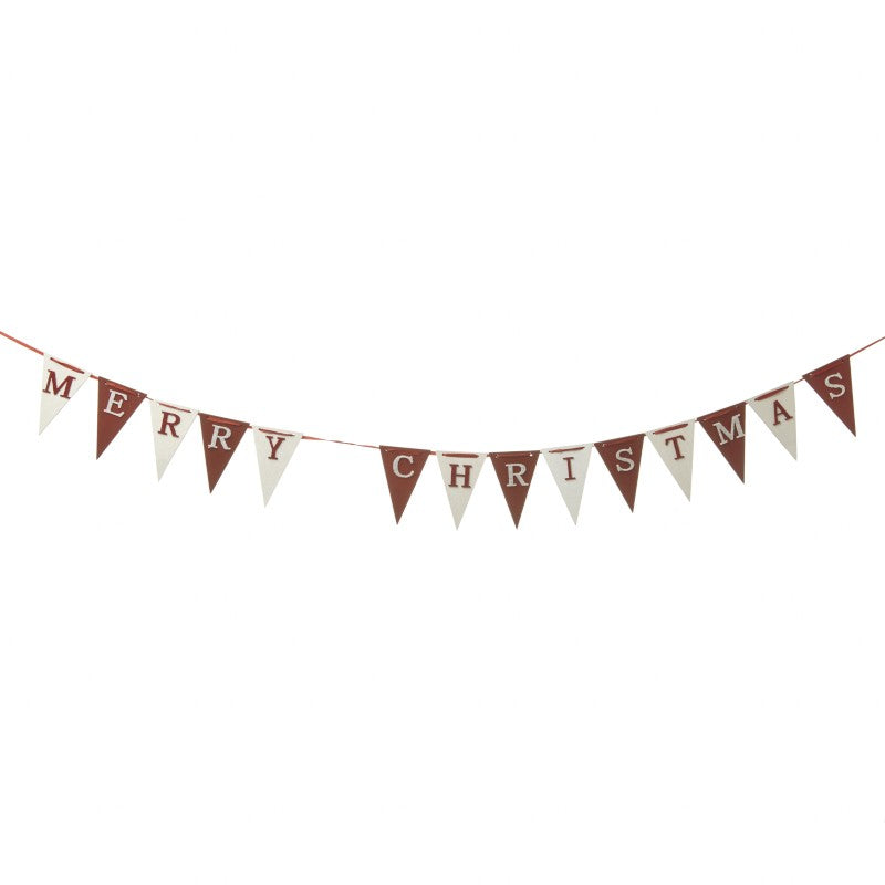 Red and White Wooden Mini Merry Christmas Bunting - stoneandcoshop