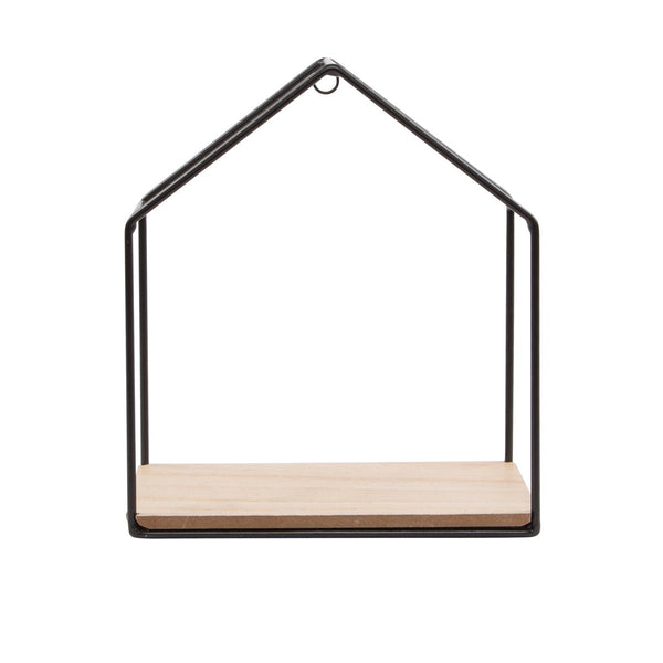 Metal and Wood Black House Shelf - stoneandcoshop