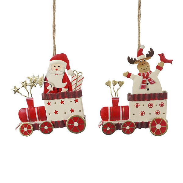 Metal Santa and Reindeer Hanging Christmas Decorations - stoneandco