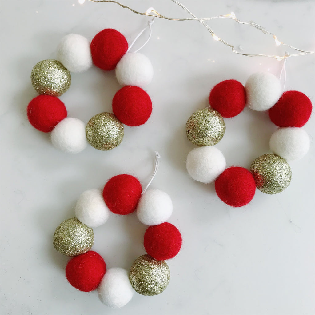Mini Hanging Felt Ball Wreaths - Red,  White and Glitter Gold - Set of Three - stoneandcoshop