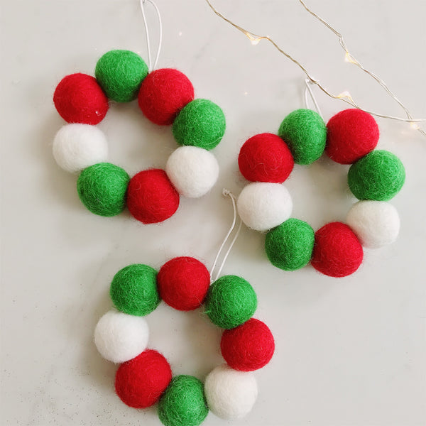 Mini Hanging Felt Ball Wreaths - Red, White and Green - Set of Three - stoneandco