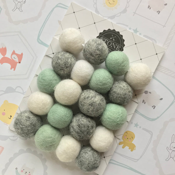 Felt Ball Pom Pom Garland Pastel Mint, Natural Grey and Pure White By Stone and Co - stoneandco