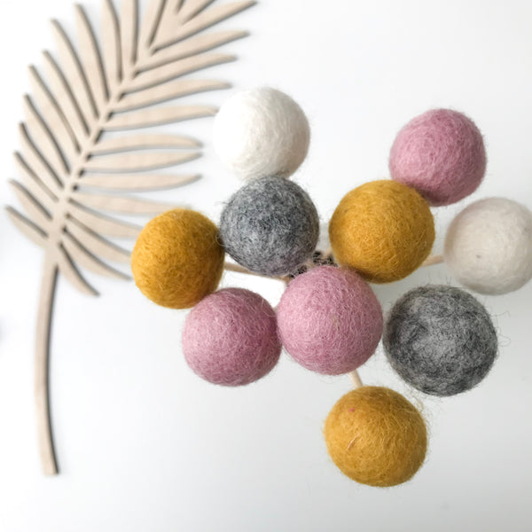 Felt Ball Flowers in Mustard, Pink, Natural Grey and Natural White - stoneandcoshop