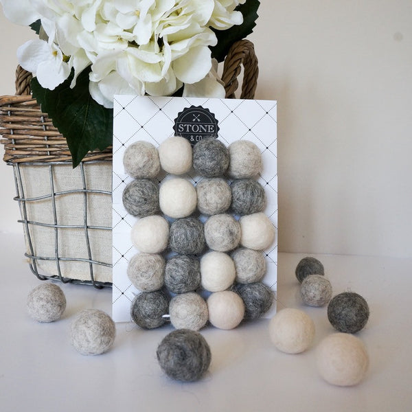Stone and Co Felt Ball Pom Garland Light Naturals Greys - stoneandco