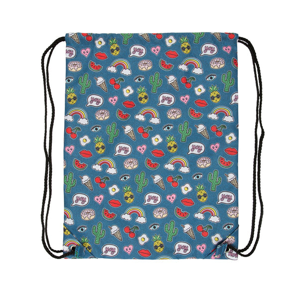 Patches and Pins Drawstring Childrens Bag - stoneandcoshop