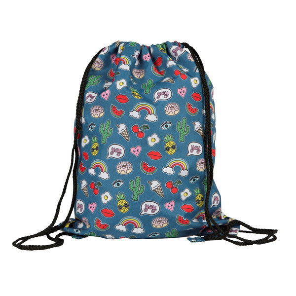 Patches and Pins Drawstring Childrens Bag - stoneandco