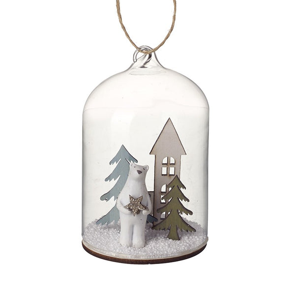 Polar Bear In Hanging Glass Dome - stoneandco