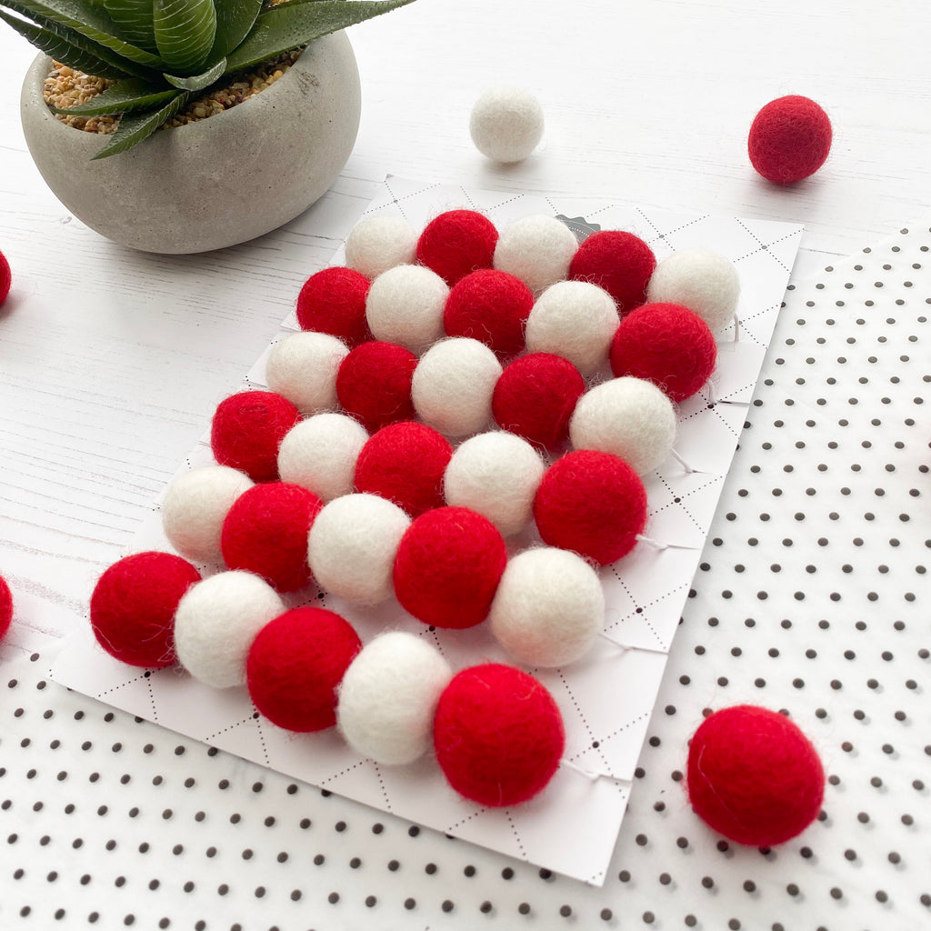 Felt Ball Pom Pom Garland - Red and White - stoneandcoshop