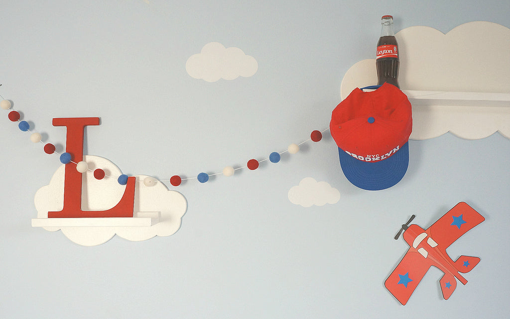 Stone and Co Felt Ball Pom Garland Red, Boy Blue and White - stoneandcoshop