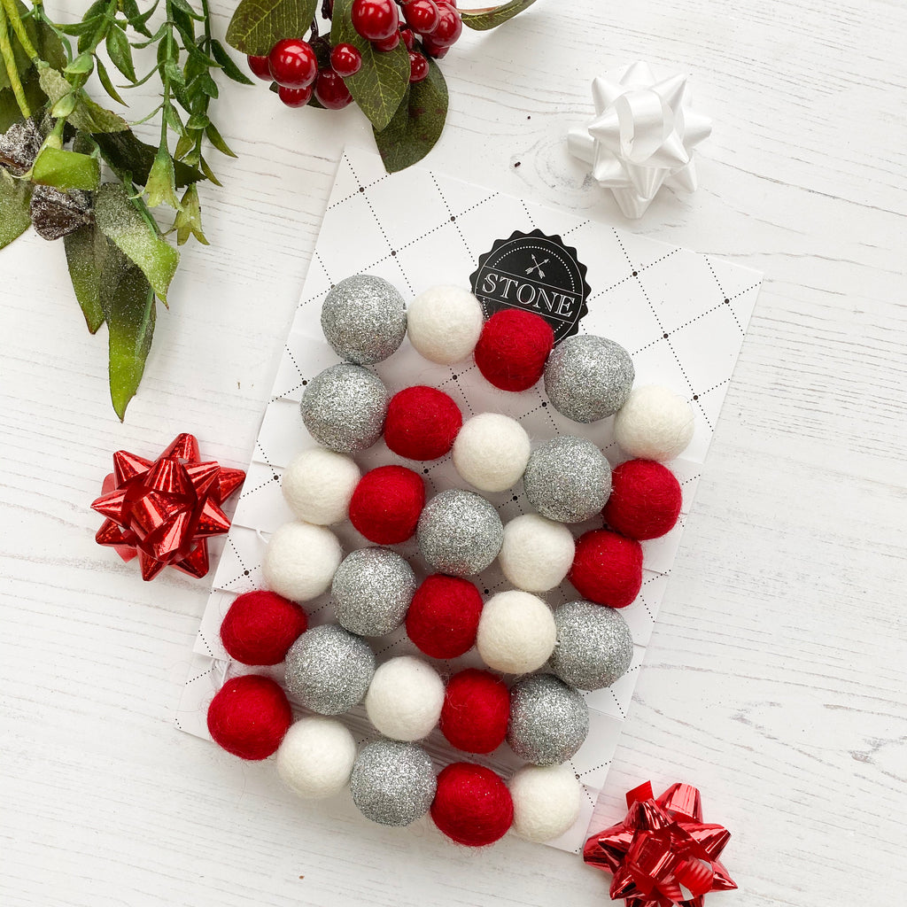 Christmas Felt Ball Pom Pom Garland - Jingle Bells in Silver, Red and White - stoneandcoshop