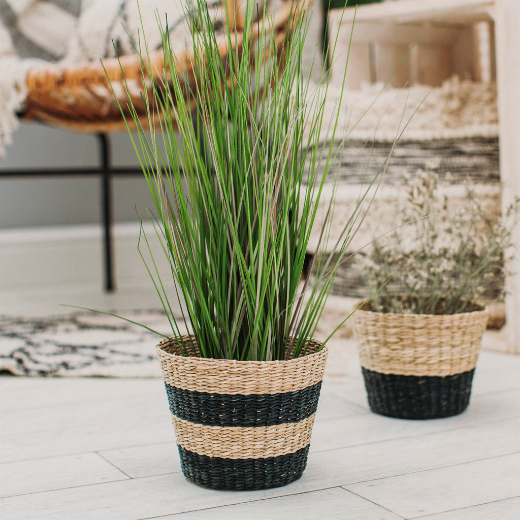Natural Seagrass Plant Pots Set Of Two - stoneandcoshop