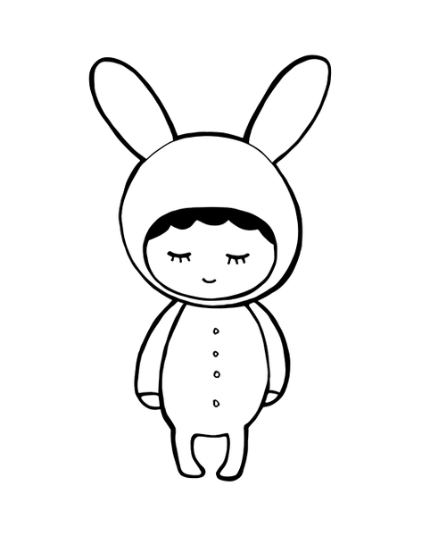 Shy Bunny In Black And White - A4 Print By Mini Learners - stoneandco