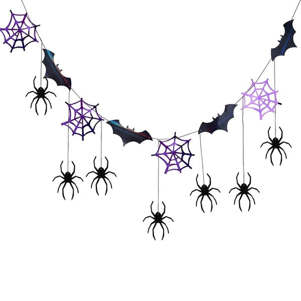 Halloween Spider Web And Bat Black Hanging Garland - stoneandcoshop