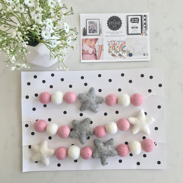 Stone and Co Felt Star and Ball Pom Garland in Pink, Grey and White - stoneandcoshop