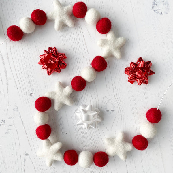 Christmas Felt Star and Ball Pom Garland Red and White By Stone And Co