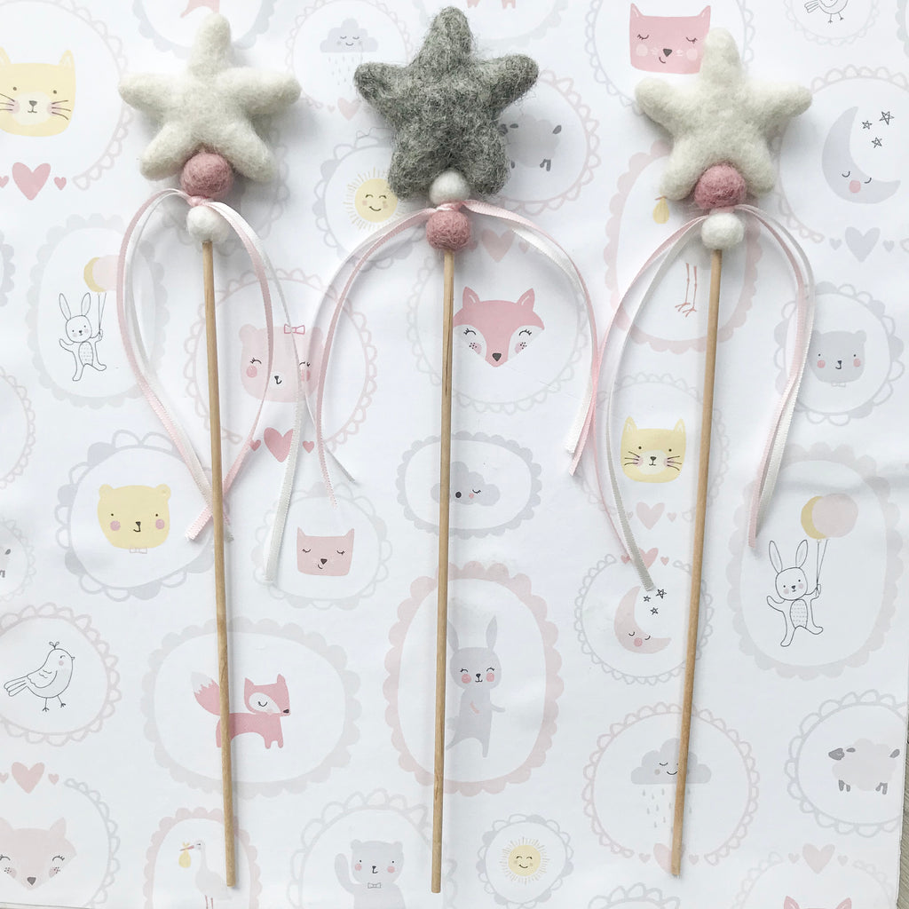 Felt Star Fairy and Wizard Wands - stoneandcoshop