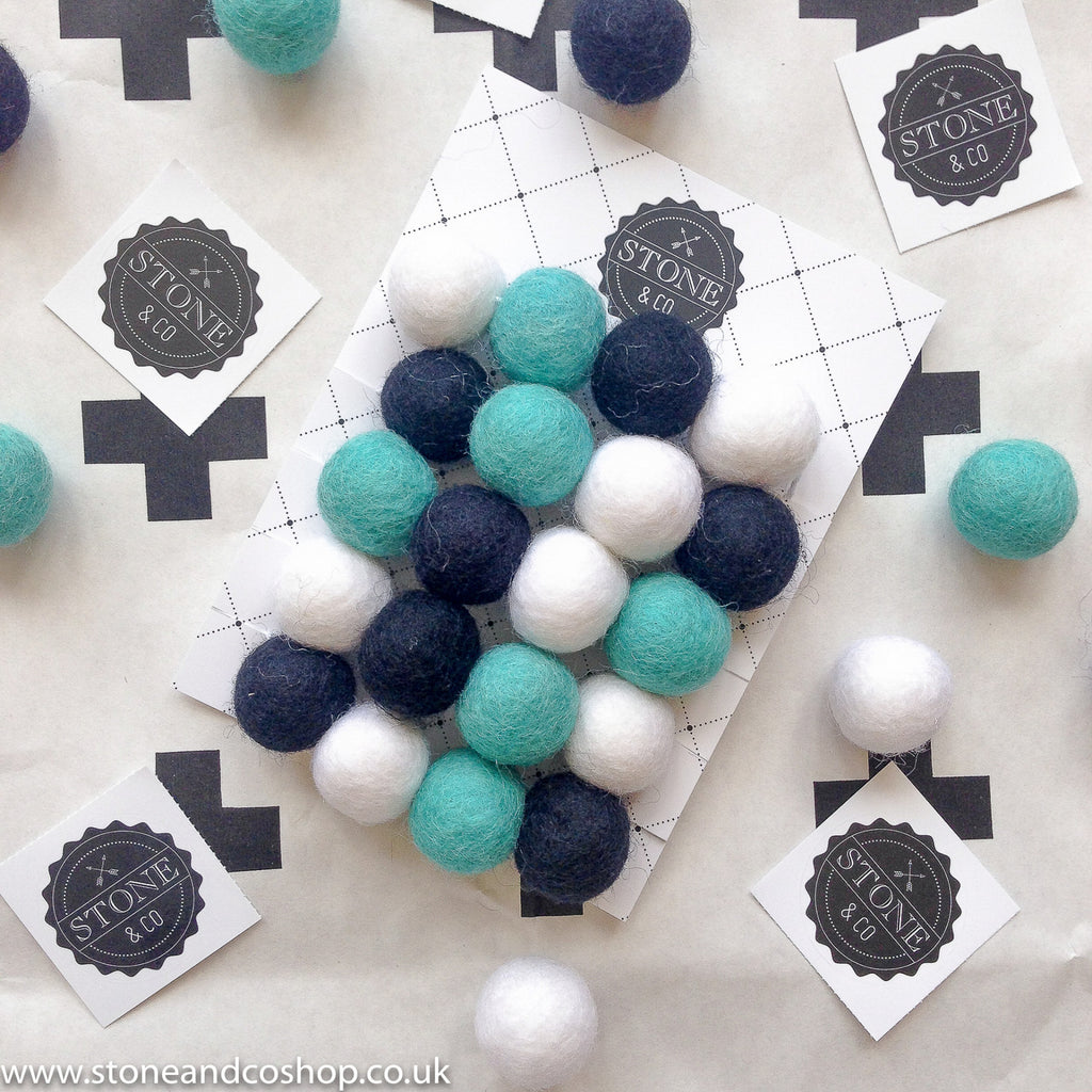Stone and Co Felt Ball Pom Pom Garland Minty - stoneandcoshop