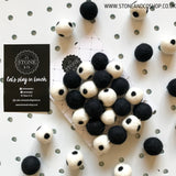 Stone and Co Felt Ball Pom Garland Spotty Black and White - stoneandco