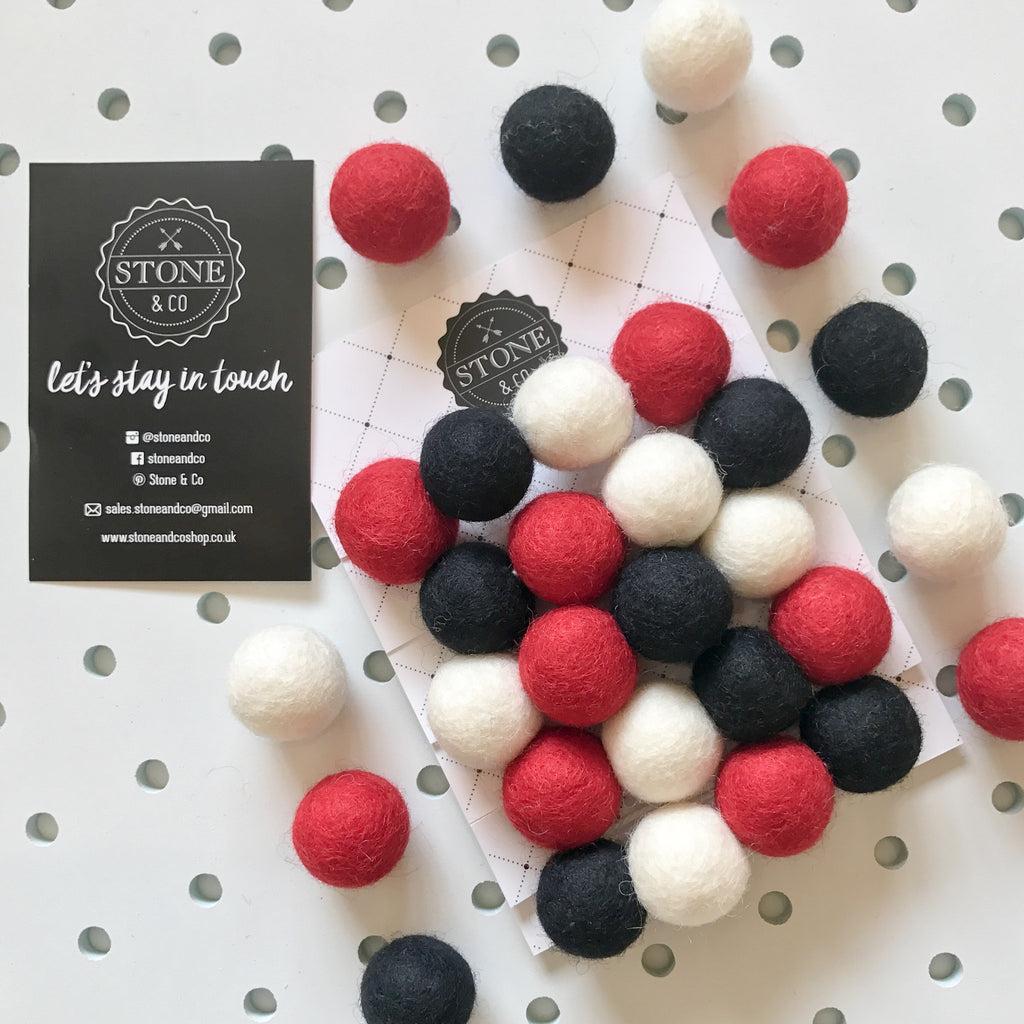 Stone and Co Felt Ball Pom Pom Garland Red Black and White - stoneandcoshop