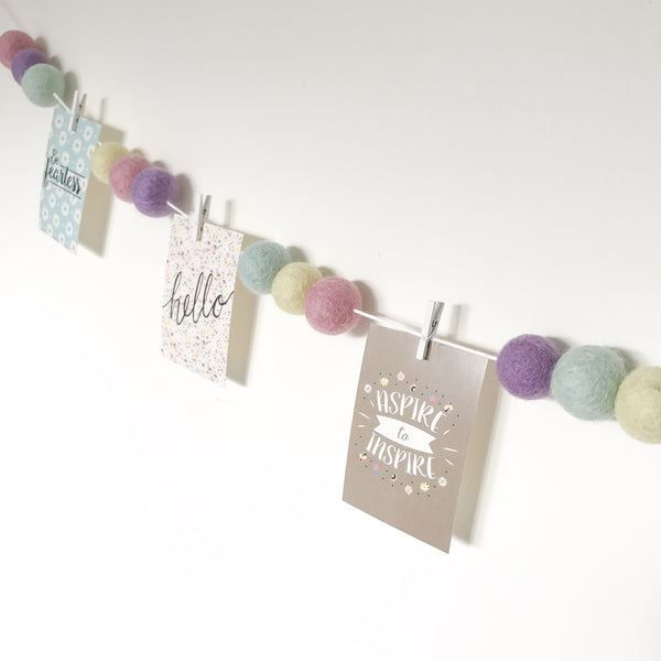 Stone and Co Felt Ball Pom Garland in Pastel Heaven - stoneandco