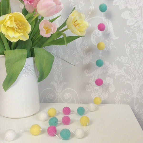 Stone and Co Felt Ball Pom Garland Summer Time - stoneandco