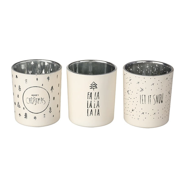 Christmas Tea Lights Set of 3 Let It Snow / Fa La La / Merry Christmas - stoneandco