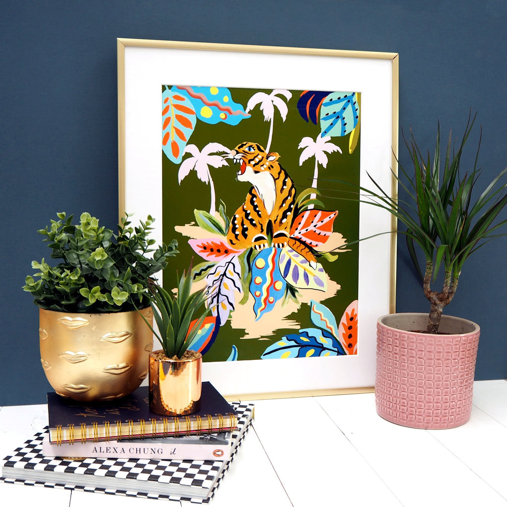 Tropical Tiger A4 print by Eleanor Bowmer - stoneandcoshop