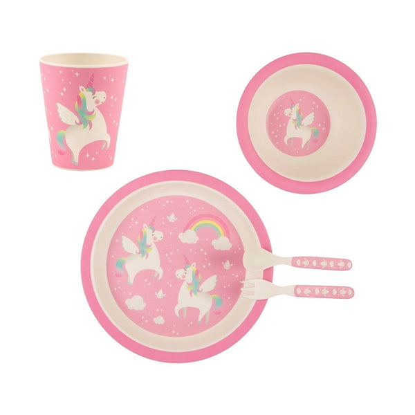 Kids Rainbow Unicorn Children's Breakfast and Dinner Plate, Bowl, Cup and Cutlery Set - stoneandcoshop