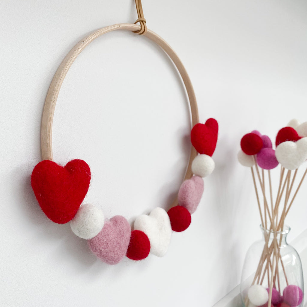 Valentines Felt Heart and Ball Hoop In Red, Pink and White.  By Stone & Co