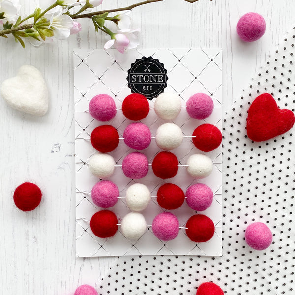 Valentine Felt Ball Pom Garland in Red, Hot Pink and White - Stone and Co Felt