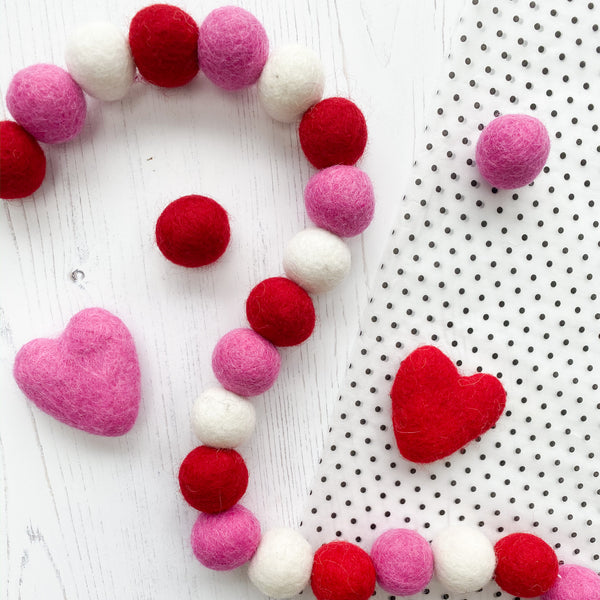 Valentine Felt Ball Pom Garland in Red, Hot Pink and White - Stone and Co Felt - stoneandcoshop