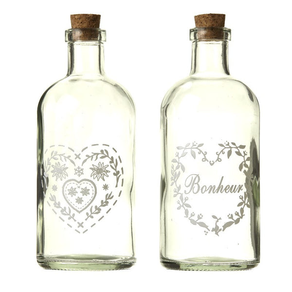 Latton Vintage Bottle With Heart Decoration x1 - stoneandcoshop