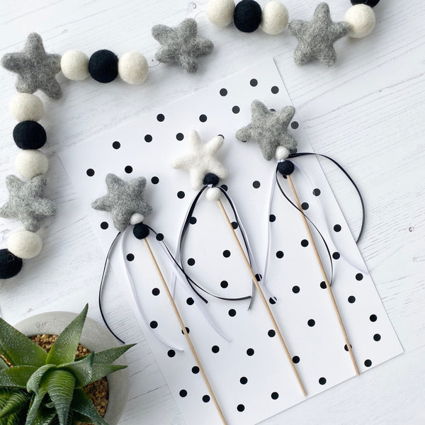 Felt Star Fairy and Wizard Wands in Grey and White - stoneandcoshop