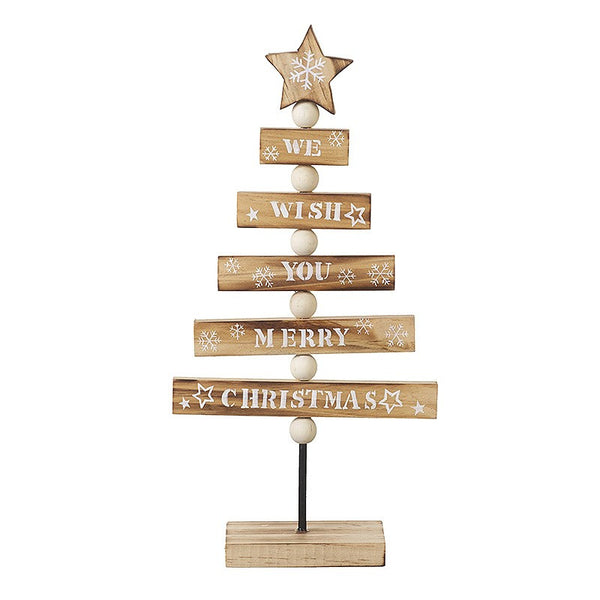 We Wish You A Merry Christmas Wooden Tree - stoneandco