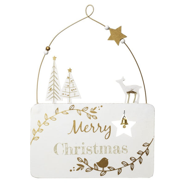 Winter White Merry Christmas Hanging Sign - stoneandco