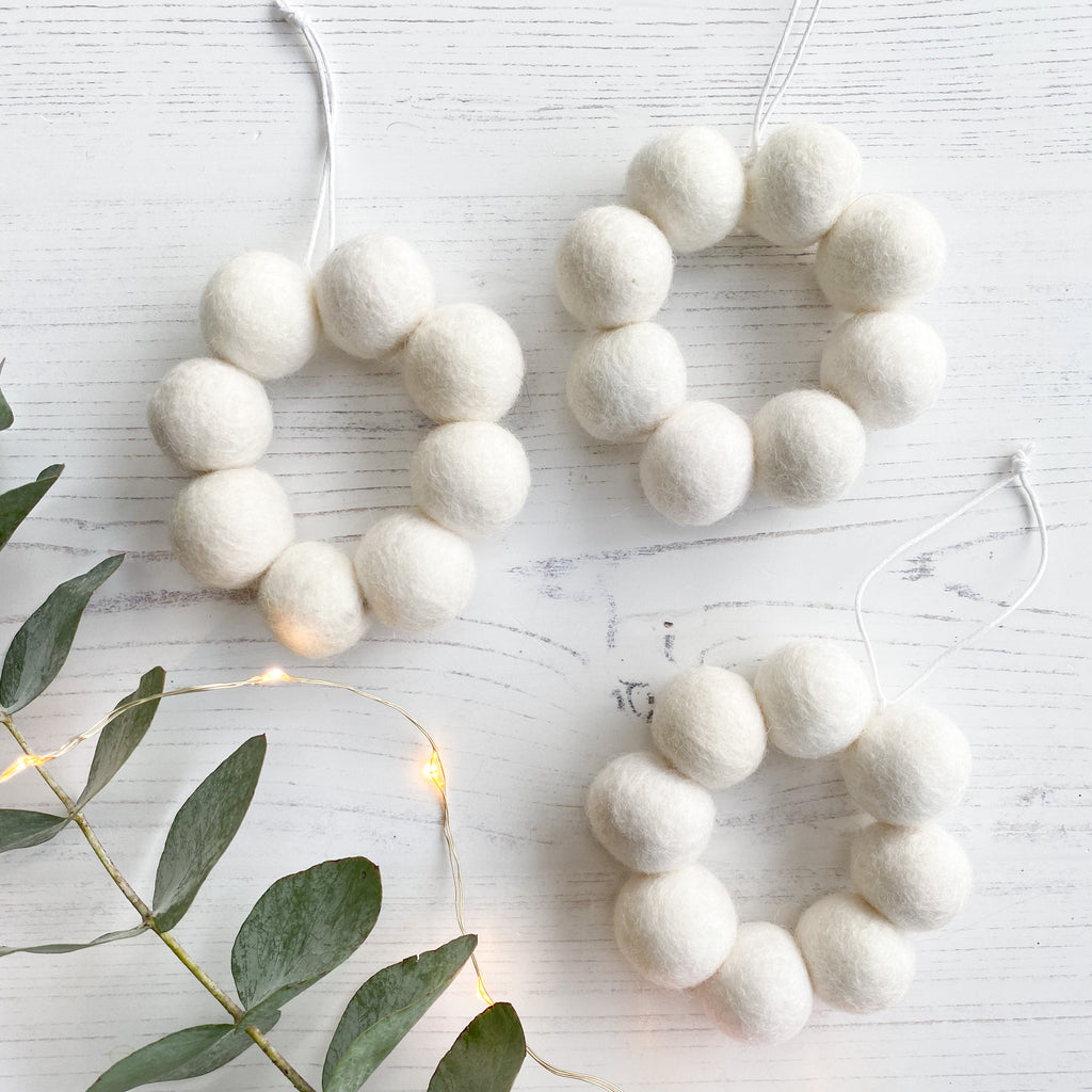 Mini Hanging Felt Ball Wreaths in White - Set of Three