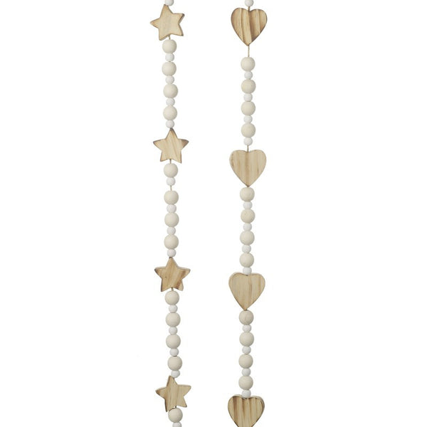 Wooden Beaded Garland With Hearts or Stars - stoneandcoshop
