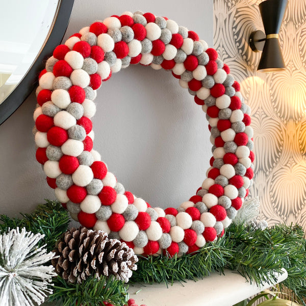 Red, Grey and White Felt Ball Pom Pom Wreath By Stone and Co